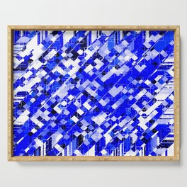 geometric square pixel pattern abstract background in blue Serving Tray