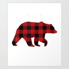 BROTHER BEAR  Men Red Plaid Christmas Pajama Family Gift  Art Print