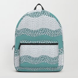 Wavy River in Teal IV Backpack
