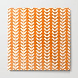 Orange and White Scandinavian leaves pattern Metal Print