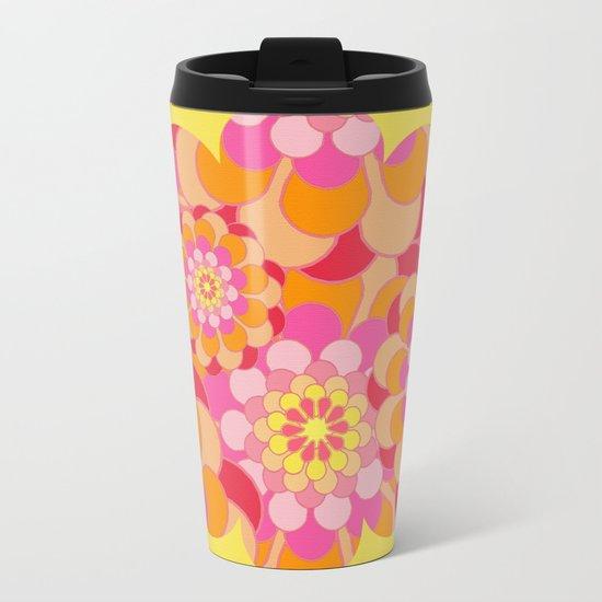 Summer Essence Bright Hippy Flowers On Yellow Metal Travel Mug