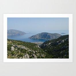 Mountain Landscape with Water in Delphi, Greece Art Print