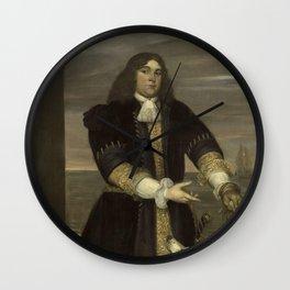 Jan Andrea Lievens - Portrait of Sea Captain Jan van Gelder, Stepson of Michiel Adriaensz de Ruyter Wall Clock