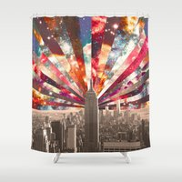 monika strigel Shower Curtains featuring Superstar New York by Bianca Green
