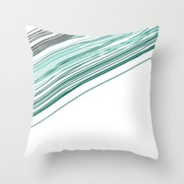 Green & Grey stripe Throw Pillow