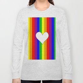 Gay flag with the colors of the rainbow with a heart Long Sleeve T-shirt