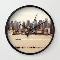 nyc Wall Clocks featuring NYC by Enkel Dika