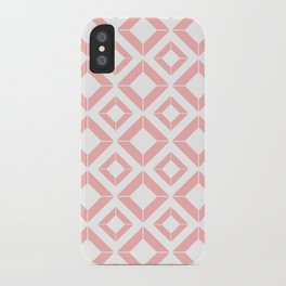 Abstract geometric pattern - pink and white. iPhone Case