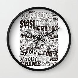Movies Genres BW Wall Clock