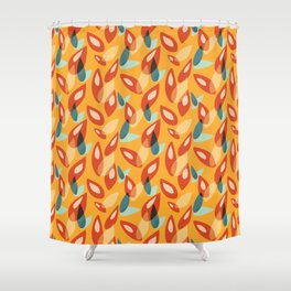 Orange Blue Yellow Abstract Autumn Leaves Pattern Shower Curtain