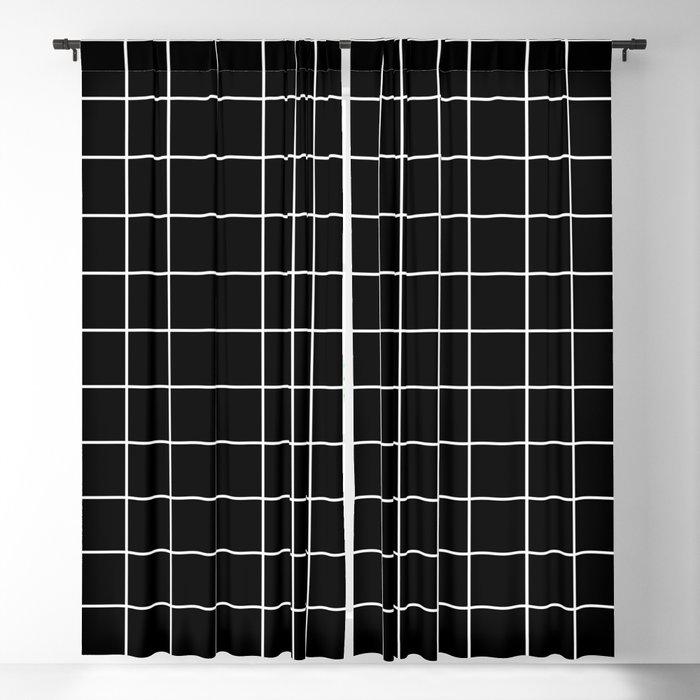 Square Grid Black Blackout Curtain