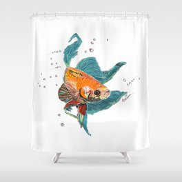 Betta Fish Scribble Art Shower Curtain