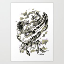Dragon Phoenix Tattoo Art Print Art Print
