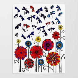 Dragonflies & Flowers Poster