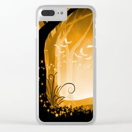 Dark Forest at Dawn in Amber Clear iPhone Case