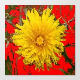 DECORATIVE  YELLOW DANDELION BLOSSOM ON ORGANIC RED ART Canvas Print