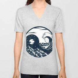 Yin Yang sea wave nature mountain free night gift Unisex V-Neck