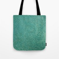 leather Tote Bags featuring teal leather by Sylvia Cook Photography