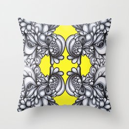 Drips on Yellow. Black and white pen illustration. Throw Pillow