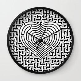 Ultimate heart maze in black Wall Clock