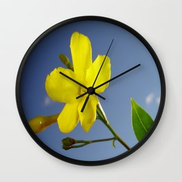 Yellow Jasmine Flower and Bud Against Blue Sky Wall Clock