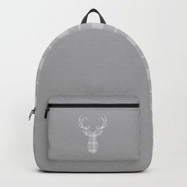 Grey Tartan Stag Head Backpack
