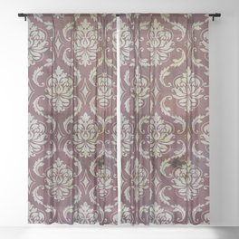 Vintage Antique Eggplant-Colored Wallpaper Pattern Sheer Curtain