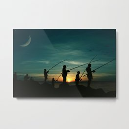 Cast Fish Night Landscape Metal Print