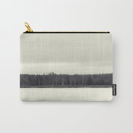 Abstract lake and forest with black and white Carry-All Pouch