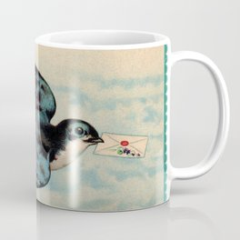 Blue Swallow with Love Letter Coffee Mug