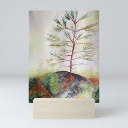 Growing Pine Tree Boulder Nature Landscape Watercolor by Imaginarium Arts Mini Art Print