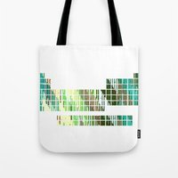 periodic table Tote Bags featuring Periodic Table, Pixilated Color Blocks by kltj11