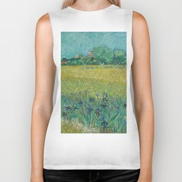 """Vincent Van Gogh """"View of Arles with Irises in the Foreground"""" Biker Tank"""