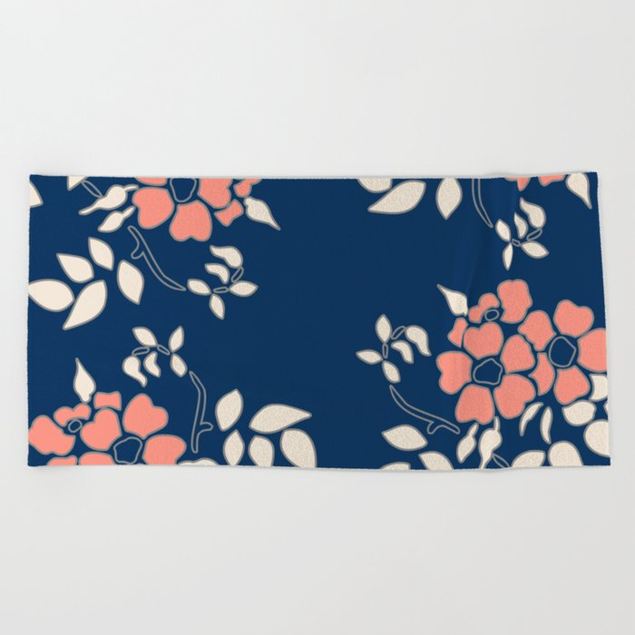 FLORAL IN BLUE AND CORAL Beach Towel