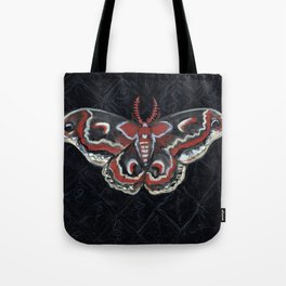 """Crecropia Noir"", IIlustrated Moth Portrait Tote Bag"