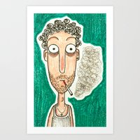 smoking Art Prints featuring SMOKING by t i t i l l a