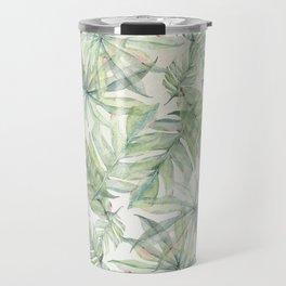 Green Tropical Leaves Travel Mug