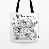 san francisco map Tote Bags featuring San Francisco Map Illustration by Claire Lordon