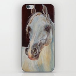 Arabian Horse portrait Gray horse head horse painting iPhone Skin