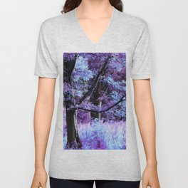 Whisper Forest Purple Periwinkle Pink Unisex V-Neck