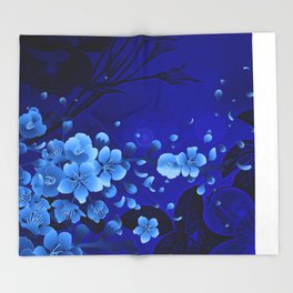 Cherry blossom, blue colors Throw Blanket