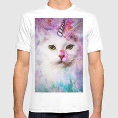 Unicorn Cat Mens Fitted Tee MEDIUM White