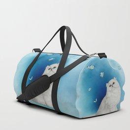 Cute chinchilla cat with butterflies Duffle Bag