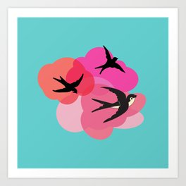 Spring swallows and clouds Art Print