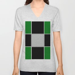 TEAM COLORS 3......GREEN,BLACK, AND GRAY Unisex V-Neck