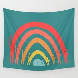 Cat Rainbow Wall Tapestry