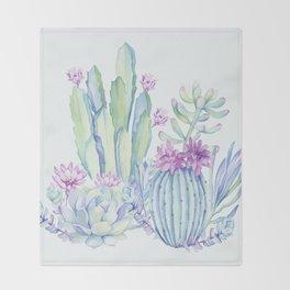 Mixed Cacti Light Blue #society6 #buyart Throw Blanket