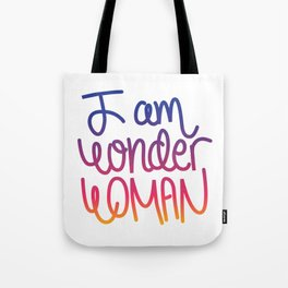 Woman power inspiration quote in a colorful gradient Tote Bag