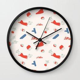 Minimal retro pattern with carrot&celery Wall Clock