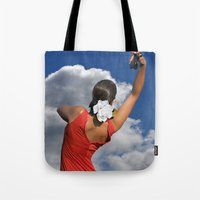 spanish Tote Bags featuring Spanish Rose by tarrby/Brian Tarr